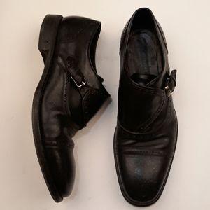 JOHN VARVATOS Black Sz 10 Monk Strap Mens Shoes